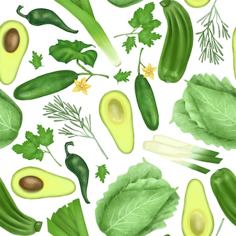 Seamless pattern with green organic vegetables and herbs (avocado, cucumber, zucchini, leek, cabbage, parsley, rosemary)