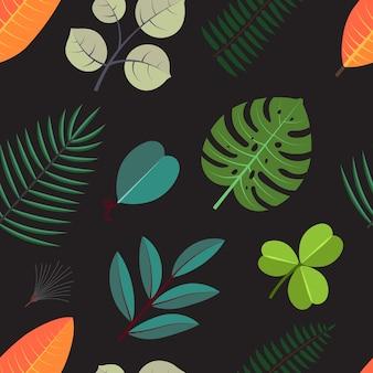 Бесшовный фон с зелеными пальмовыми листьями. цветочная тропическая листва на темном фоне.