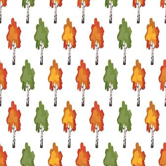 Бесшовный фон с зелеными, красными и оранжевыми березами