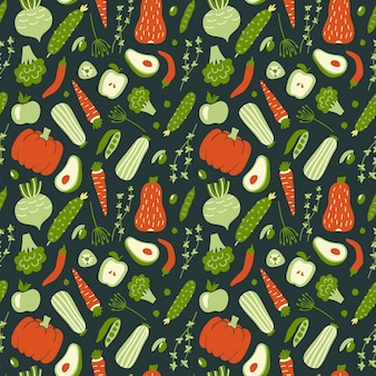Seamless pattern with green and red vegetables.