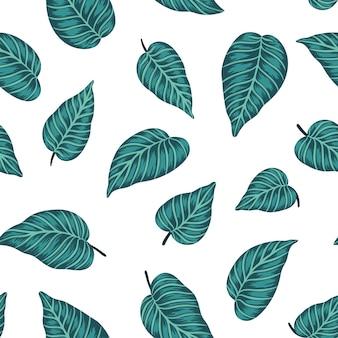 Бесшовные модели с зелеными тропическими листьями