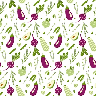 Seamless pattern with green and violet doodle vegetables.