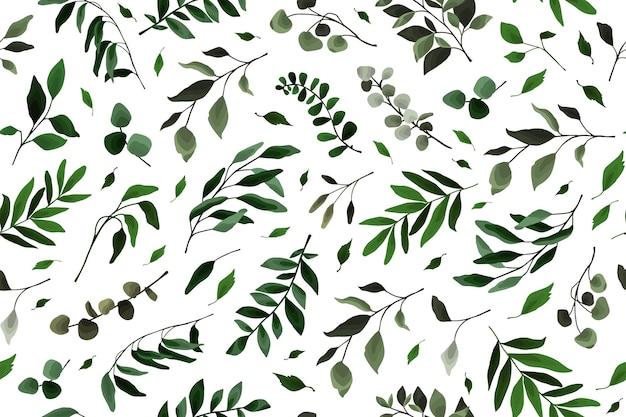 緑とシームレスなパターンは、花の水彩画のウェディングカード、壁紙、植物の葉のための枝の小枝の植物相を残します。ベクトルエレガントなハーブの春の背景