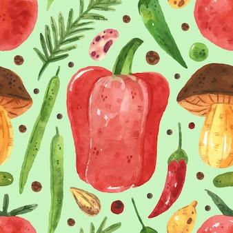 緑、エンドウ豆、豆、ピーマン、葉、トマト、キノコとのシームレスなパターン。水彩風