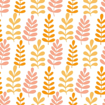 Seamless pattern with growth leaves in orange and yellow colors.