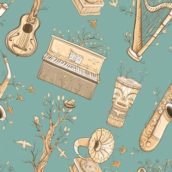 Бесшовный фон с гитарой, арфой, саксофоном, фортепиано, барабаном джембе, граммофоном, растениями и птицами. иллюстрация живой музыки. музыка природы.