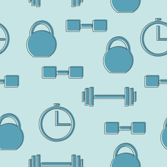 Seamless pattern with gym icons in line style - blue background vector