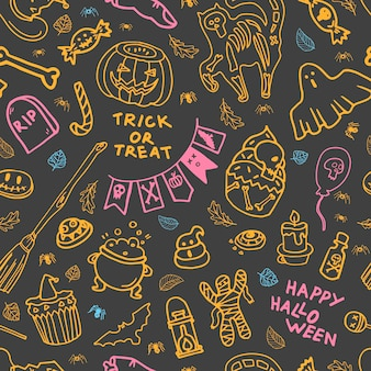 Seamless pattern with halloween attributes on gray background vector illustration cookie ghost