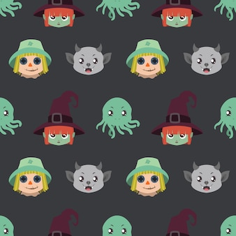 Seamless pattern with halloween character portraits