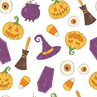 Seamless pattern with halloween colored icons