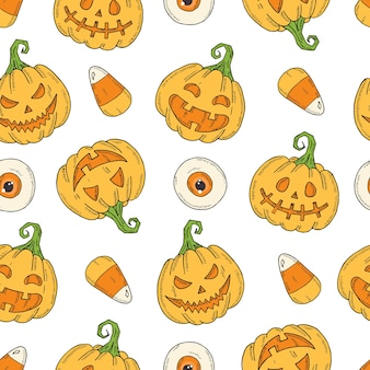 Seamless pattern with halloween colored pumpkin jack