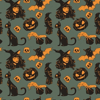 Seamless pattern with halloween cute hand drawn elements set