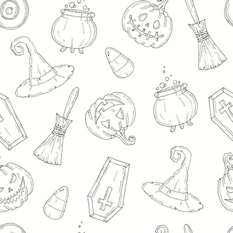 Seamless pattern with halloween elements.