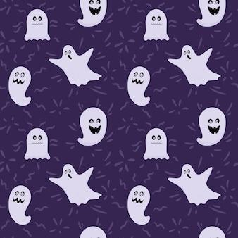 Бесшовный фон с призраками хэллоуина, фантомами. страшно, жутко. иллюстрация на темном фоне.