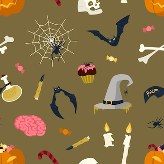Seamless pattern with halloween magic items and creatures on dark background - jack-o'-lantern, witch hat and flask with potion, spider web, bat, burning candles. holiday flat illustration.