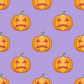 Seamless pattern with halloween pumpkin.
