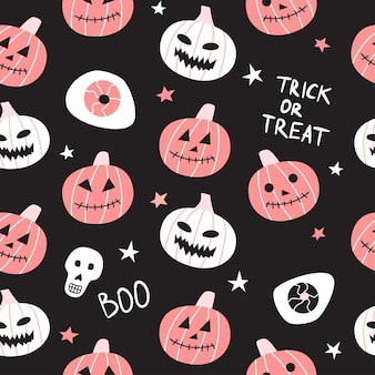 Seamless pattern with halloween pumpkins on black background.