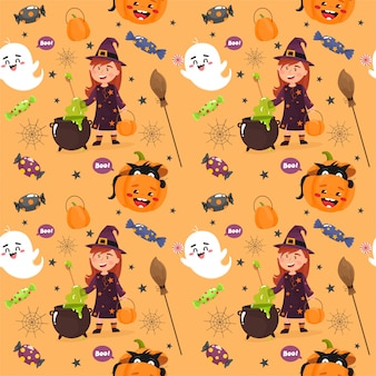 Seamless pattern with a halloween theme. happy halloween.