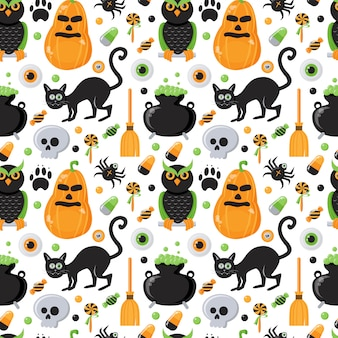 Seamless pattern with halloween theme