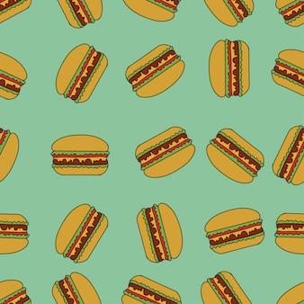 Seamless pattern with hamburgers.
