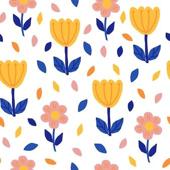 스칸디나비아 스타일의 손으로 그리는 꽃으로 완벽 한 패턴입니다. 블루, 핑크, 옐로우의 심플한 플로럴 프린트. 직물, 포장, 엽서, 포스터 및 기타 물건의 인쇄를 위한 벡터 클립 아트