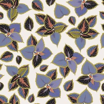 ハンドドロー熱帯植物の葉とのシームレスなパターン