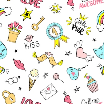 Seamless pattern with hand-drawing elements, girls power, keys, birds in love, heart flying, diamond
