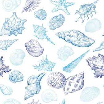 흰색 배경에 고립 된 파란색에서 손으로 그리기 스케치 조개와 함께 완벽 한 패턴입니다. 벡터 일러스트 레이 션.