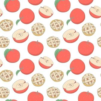 手描きのアップルパイとアップルとのシームレスなパターン