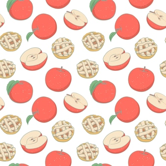 Seamless pattern with hand drawn apple pie and apple