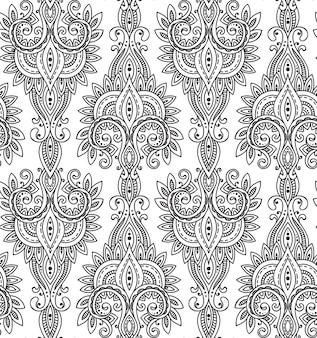 원활한 패턴 손으로 그려 아시아 페이 즐 리 장식. 민족과 부적. 흑백 아름다운 끝없는 배경.