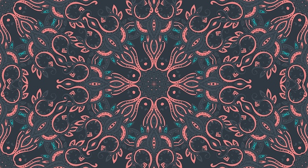 Seamless pattern with hand drawn asian paisley ornament.  amulet with ethnic .  dark beautiful endless background.