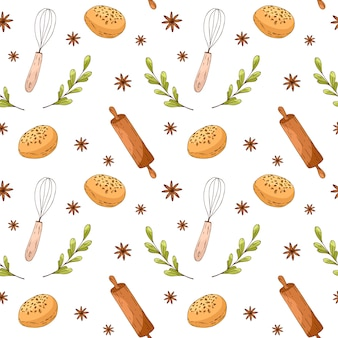 Seamless pattern with hand drawn bakery elements. menu design, shop wrapping paper.