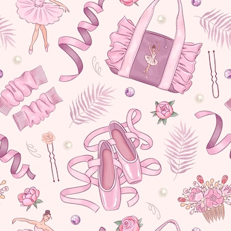 Seamless pattern with hand drawn ballet school elements