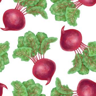 Seamless pattern with hand drawn beetroot on a white background