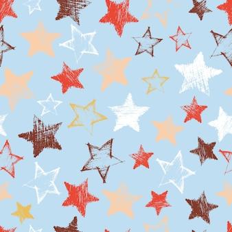 青い背景に手描きの青い星とのシームレスなパターン。抽象的なグランジテクスチャ。ベクトルイラスト
