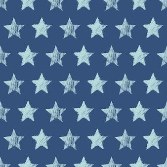 파란색 배경에 손으로 그린 파란색 별과 완벽 한 패턴입니다. 추상 그런 지 질감입니다. 벡터 일러스트 레이 션