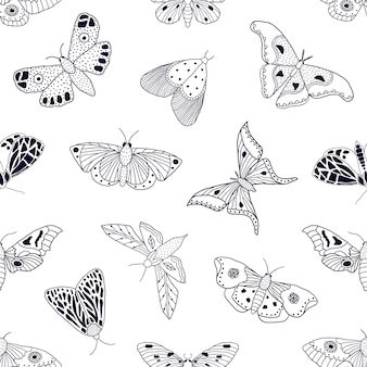 Seamless pattern with hand drawn butterflies and moths