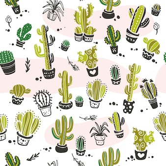 白い背景で隔離の手描きのサボテン要素とのシームレスなパターン。花の砂漠の飾り、スケッチ、落書きスタイル。