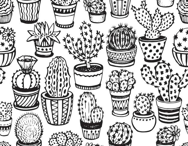 スケッチスタイルの手描きのサボテンとのシームレスなパターン。