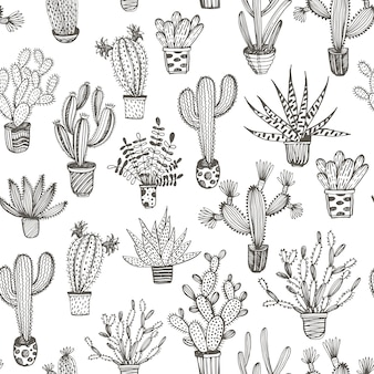 Seamless pattern with hand drawn cactus in a pot.