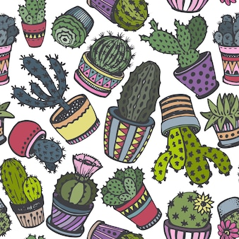 Seamless pattern with hand drawn cactus in sketch style.