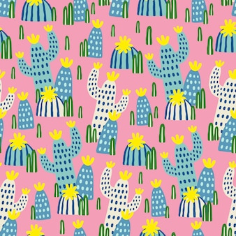 Seamless pattern with hand-drawn cactuses on pink background.