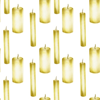 Seamless pattern with hand drawn candles