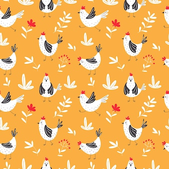 Бесшовные модели с рисованной цыплят.