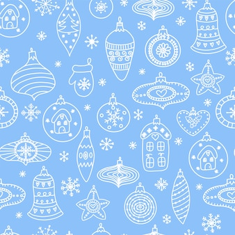 Seamless pattern with hand-drawn christmas ball toys