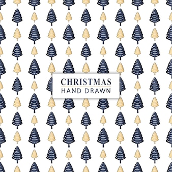 Seamless pattern with hand drawn christmas tree