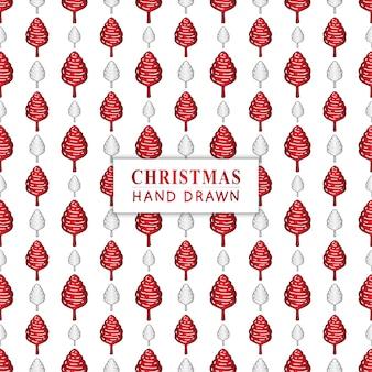 手描きのクリスマスツリーとシームレスなパターン