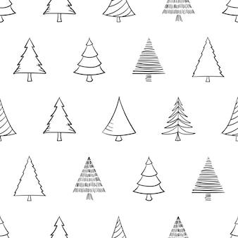 手描きのクリスマスツリーとのシームレスなパターン