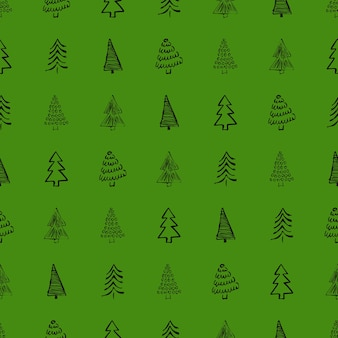 Seamless pattern with hand drawn christmas trees. sketched firs.  winter holiday doodle elements. vector illustration
